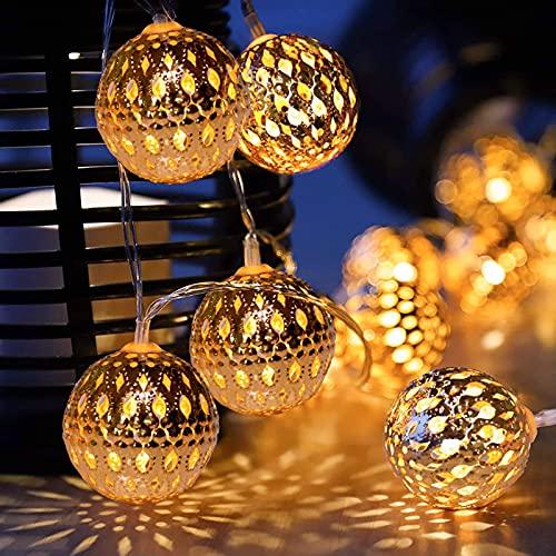 Lámpara Solar Cadena de Luces marroquí 8 Modos de Encendido Apagado Automático IP65 Resistente al Agua para Navidad Jardín Veranda Terraza Interiores y Bodas