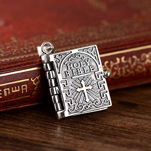 Yarmy Bible Cross Necklace Pendant, s925 Sterling Silver Bible (Openable) Necklace, Cross Pendant Jewelry for Men and Women, Personality Trendy Hip Hop Retro Punk Fashion Jewelry Gift