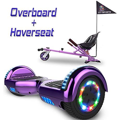 COLORWAY 6,5 Zoll Hover Scooter Board Elektro Skateboard Elektro Scooter Smart Self Balance Board - Bluetooth - LED Räder - 350W*2 Motor + Hoverkart (Violett+Kart)