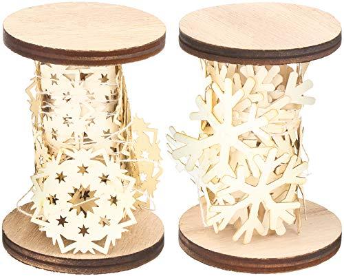 COM-FOUR® 2x papieren slinger op houten rol, sneeuwvlokenslinger voor decoratie van het huis, decoratie voor cadeaus voor Kerstmis [selectie varieert] (02 stuks - slinger 420cm)