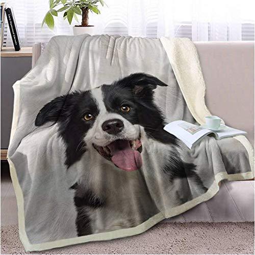 VYEKL Tragen Sie Decke Bettwäsche werfen eine Decke Border Collie Decke auf Sofa 3D Hund Welpe Sherpa Decke Tier Tagesdecken 150X200