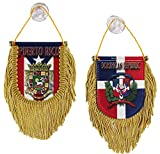 Puerto Rico and Dominican Republic - Double-Sided Window Hanging Flag (Shield)