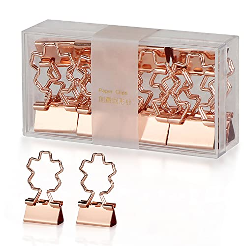 Buqoo Simple Binder Clips,Strong Fixing Force,Does not Rust,Does not Fade.Rose Gold Small Binder Clips are Used in The Office.A Total 0f 12 (Cherry Blossoms)
