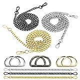 mezoom 6 pezzi tracolla a catena borsa catena ricambio in metallo cinghie ricambio a catenella borsa mano con 6 anelli a d per portafoglio pochette (argento/oro/nero)