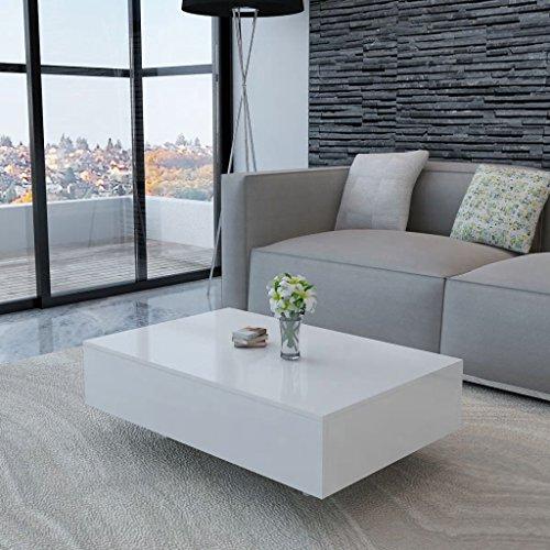 Romelaru Salontafel, hoogglans, wit, decoratieve tafels