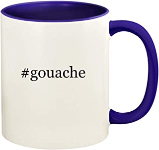 #gouache - 11oz Hashtag Ceramic Colored Handle and Inside Coffee Mug Cup, Deep Purple