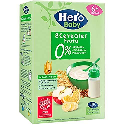 Hero Baby - Papilla Cereales con Fruta Sin Azúcares Añadidos ni producidos para Bebés a partir 6 meses 340g