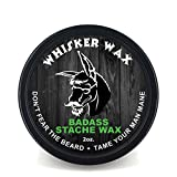 Badass Beard Care Mustache Wax For Men, 2 oz - Made with All Natural Butters and Waxes, Medium Hold, Keeps Mustache Looking and Feeling Natural and Soft
