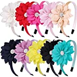 10 Pcs Flower Headband For Girls,Toddler Headbands Chiffon Floral Kids Hairbands Sparkle Cute 3.5 inch Hairbow-Diademas Para Niñas