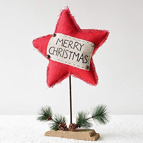 YWYU Aiguilles de pin en Bois cônes en pin Toile de Jute Lettre Rouge étoile à Cinq Branches Cadeau de noël Ornements (Taille : Large 62CMx38CM)
