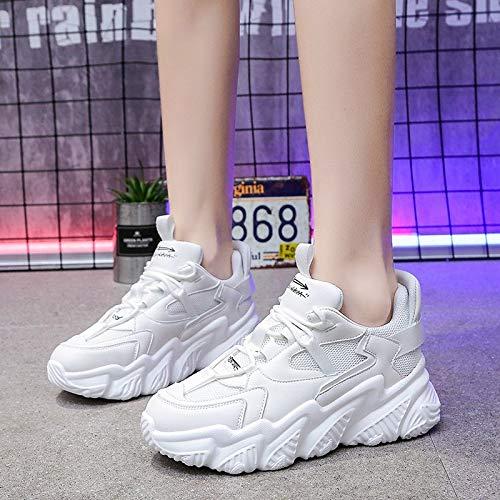 Mujeres Primavera Y Otoño Viento Estudiantes Zapatos Deportivos Casuales Zapatos Blancos Pequeños De Las Mujeres De Baja Ayuda Zapatos De Mujer 39 Blanco