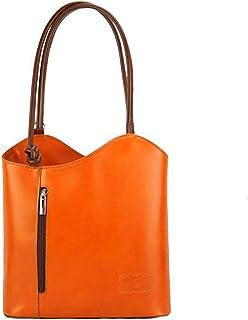 FLORENCE LEATHER MARKET Borsa arancione e marrone a spalla in pelle 28x9x29 cm - Cloe - Made in Italy