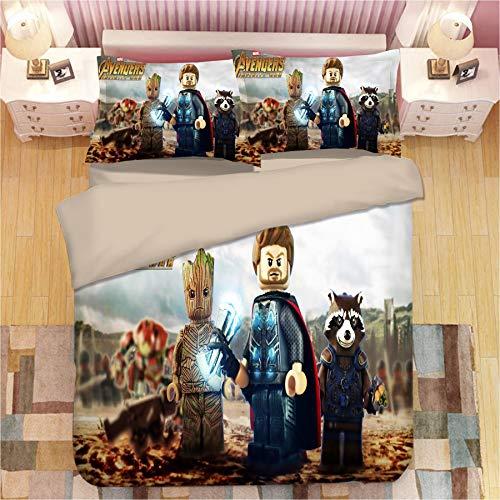 XKNSYMRL Copripiumino 260X220, Cartoni Animati 3D Digitale Stampa Sacco Piumone Matrimoniale, Upgrade Microfibra Set da Letto Soft And Comfortable, per Regalo Natale (150X200Cm)