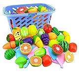 YAOTT Juguetes Cortar Frutas Verduras Corte Juego de Plástico Cocinas de Juguete para Niños 23PCS Juguetes Conjunto