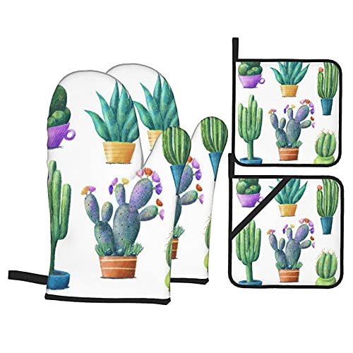 Regular Cute Cacti Tall Heat Resistant Kitchen Oven Mitts, with Non-Slip Oven Proof Gloves And Pot Holders for Housewares Cooking Baking Microwave Grilling