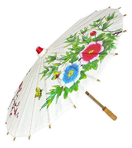 Chinesischer Sonnenschirm aus Papier - Zauberhaftes Zubehör zu Ihrem Kostüm als Chinesin Geisha oder Japanerin