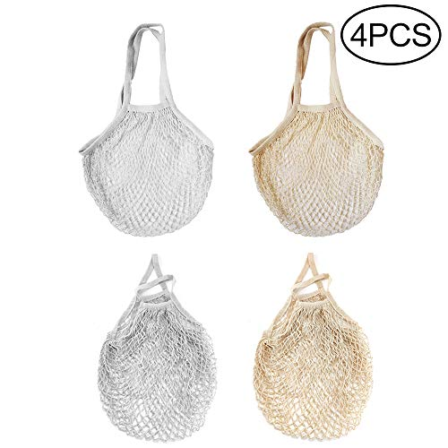 Hileyu 4 Stück Baumwolle Einkaufsnetz Netzbeutel, Wiederverwendbare Netz Einkaufstasche Netzbeutel, Netz Tasche für Obst und Gemüse, Tragbar Einkaufsnetz Beutel zum Einkaufen, Aufbewahren