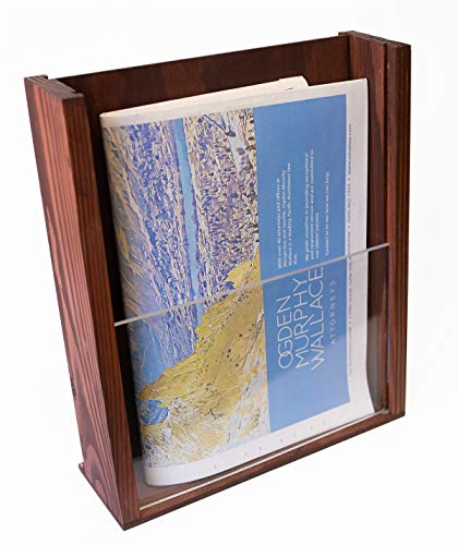 "Premium Wood Magazine Display/Brochure Holder - Large Countertop Stand with Acrylic Front - Handmade and Stained - 10.25"" x 12"" Sturdy Desktop Pamphlet Organizer Made with Real Pine Wood"