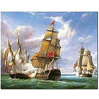 5DDiyダイヤモンド塗装クロスステッチ型ドリルボートナンバーペインティング海上帆船ダイヤモンド刺繍45x34cm