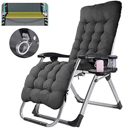 Aoyo - Sillas de jardín reclinables plegables para camping, jardín, portátil, de ocio, playa, ajustable, silla de oficina, playa, tumbona con soporte para tazas y cojín extraíble Negro