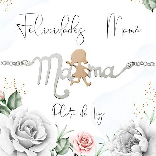 Pulsera Mamá de Plata de Ley con detalle de Oro rosa - Pulsera día de la madre