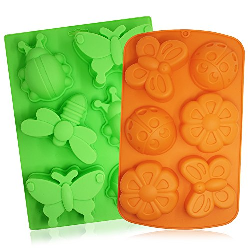 SENHAI 2 Pcs Insect Silicone Trays, 6-Cavity 3D Dragonfly Butterfly Ladybug Cake Baking Molds, DIY Soap Handmade Muffin Biscuit Cookie Pans - Orange, Green