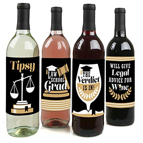 Big Dot of Happiness Law School Grad - Future Lawyer Graduation Party Decorations for Women and Men - Wine Bottle Label Stickers - Set of 4