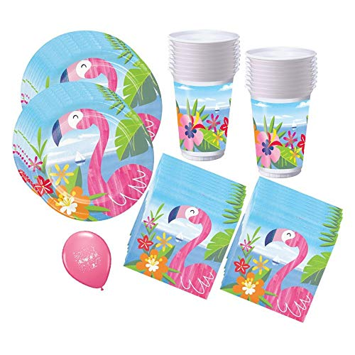 Great Price! Pink Flamingo Cups Plates Napkins- Party Supplies Set for 16 Guests