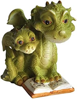 Top Collection Miniature Fairy Garden and Terrarium Mama Dragon Reading with Baby Statue