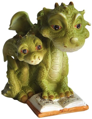 Top Collection Miniatur-Fairy Garden und Terrarium Mama Dragon Lesung mit Baby Statue
