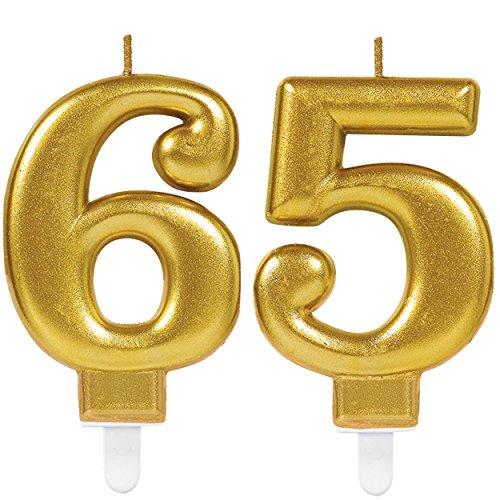 Carpeta 2X Zahlenkerzen * Zahl 65 * in Gold   11cm x 9cm groß   Deko Goldene Hochzeit Jubiläum Geburtstagskerze Kerze Geburtstag