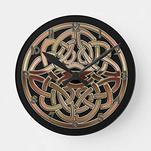 DoreenAbe Classic Wood Clock, Non Ticking Clock 12' Bronze Metallic Celtic Knot Wooden Decorative Round Wall Clock