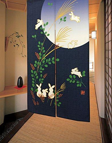 LIGICKY Cortina japonesa para puerta, diseño de conejo bajo la luna, color azul, 83,8 x 149,9 cm