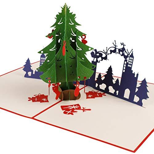 Reca Creations Handmade 3D Christmas Card, Pop Up Greeting Card, Merry Christmas Card for Holiday, Xmas, New Year