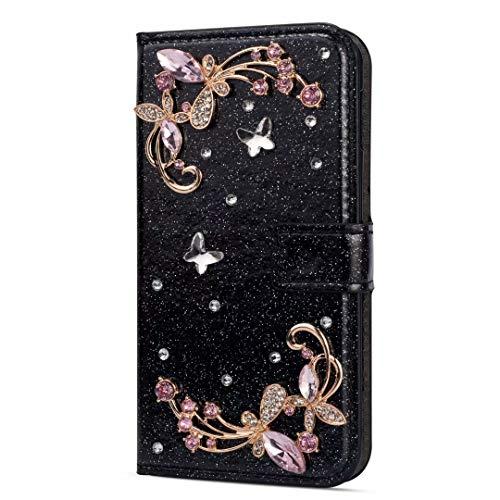 Handyhülle für Samsung Galaxy A12 Hülle Glitzer Blumen Strass Leder Tasche Flipcase Silikon Schutzhülle Handytasche Skin Ständer Klapphülle Schale Bumper Magnet Clip für Samsung Galaxy A12 schwarz