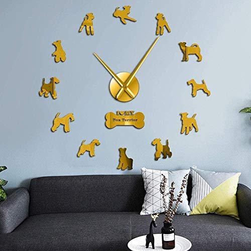 CCJIANI 3D Wall Clock Sticker Decoration Line Fox Terrier Dog Accurate Mute Wall Clock DIY Home/Office/Hotel_Gold-37 inches