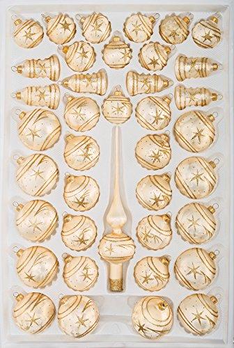 39 TLG. Glas-Weihnachtskugeln Set in Ice Champagner Gold Komet- Christbaumkugeln - Weihnachtsschmuck-Christbaumschmuck