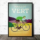 Inga Cartel de metal con diseño de Jersey verde Maillot Vert Tour De Francia Ciclismo Retro Vintage Dormitorio Retro Cafe Store Cartel de metal 8 x 12 pulgadas
