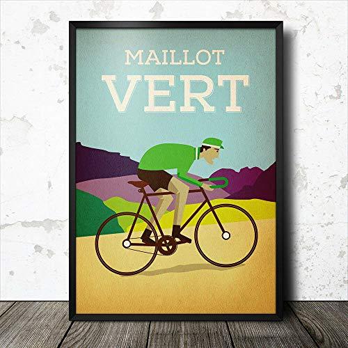 Inga Cartel de metal con diseño de Jersey verde Maillot Vert Tour...