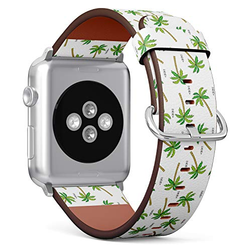 Compatible with Apple Watch Serie 6/5/4/3/2/1 (Small Version 38/40 mm) Leather Wristband Bracelet Replacement Accessory Band + Adapters - Doodle Palm Tree