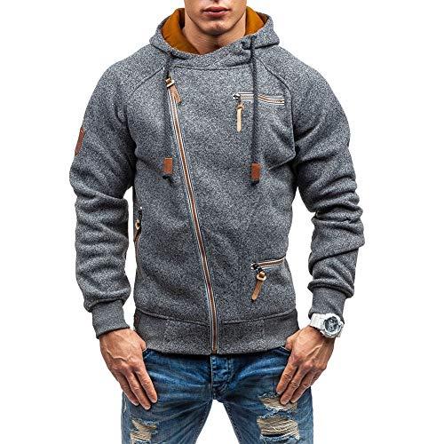 Acelyn Sweat-shirt à capuche à manches longues en velours pour homme avec fermeture éclair intégrale Tailles M-3XL - Gris - XXXL