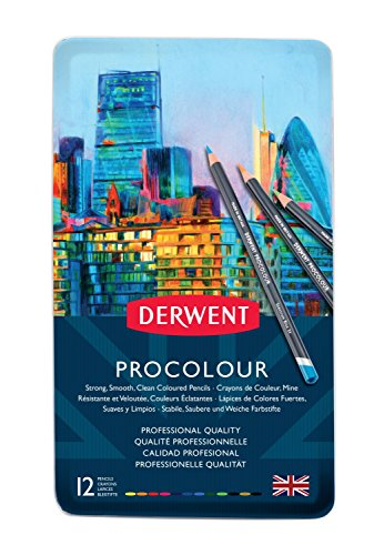 Derwent Colored Pencils, Procolour Pencils, Drawing, Art, Metal Tin, 12 Count (2302505)