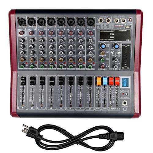 8-Channel Professional Mono Audio Mixer, Phenyx Pro Sound Board w/ 3-Band EQ, Build-in 99 DSP Effects, BT Function, Recording to USB Drive, Ideal For Studio, Stage, Karaoke (PTX-30)