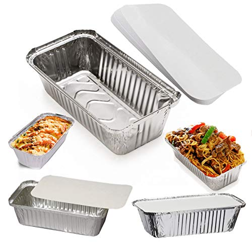 No6A Aluminium Foil Food Takeaway Home Trays Catering Tubs Baking Storage Freezer Containers + Lids (10 Containers + Lids)