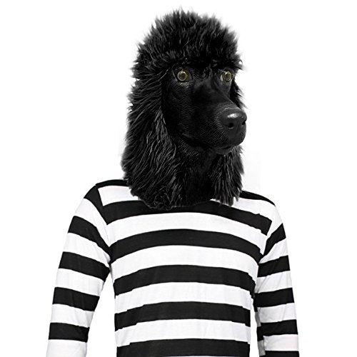 Off the Wall Toys Standard Poodle Mask Dog Halloween Costume Face Mask Kennel Club (Black)