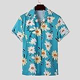 Camisa Hawaiana De Manga Corta con Estampado De Flores para Hombre - Blusa De Playa con Solapa Bohemia De Verano Blusa Informal De Gran Tamaño con Botones para Hombre Unisex para Camisas De Fiesta