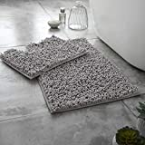 Gaveno Cavailia Ultra Soft 2 Piece Loop Bath Mat Anti Slip Pedestal Set, Extra Absorbent 100% Microfiber Chenille Bathroom Toilet Rug, Regular (50x80, 50x40 cm), Silver