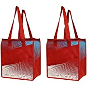Earthwise Insulated Reusable Grocery Bag Shopping Tote - Keeps Food Hot Or Cold Large Hot Cold Thermal Cooler Zipper Closure (2 Pack) (Red)