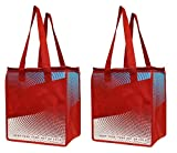 Earthwise Insulated Reusable Grocery Bag Shopping Tote - Keeps Food Hot Or Cold Large Hot Cold Thermal Cooler Zipper Closure ( 2 Pack ) (Red)