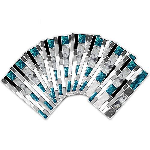 WATCBQ Pegatina Autoadhesiva para Azulejos Estilo Moderno Calcomanías De Pared Azul Gris Mármol Ladrillos Baño Cocina Hogar DIY Decoración-27 Piezas